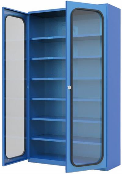Steel Cabinet Fitted With 6 Shelves And Glass Doorssbc 6 Shg
